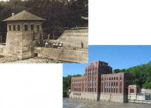 Two photos sit, overlapping, one of the hydraulics lab in 2020 and one from 1920