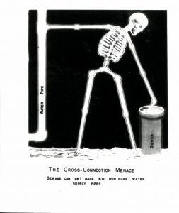 A skeleton stands between two pipes and its arms are connected to both