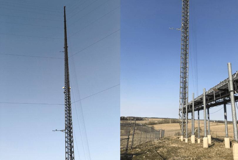 Two photos of tall towers used for air quality testing